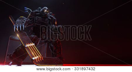 Hockey Goalie Cyborg Metal Agressive Stance Red Machine With Fire Metal Spikes And Sparks On Dark Ba