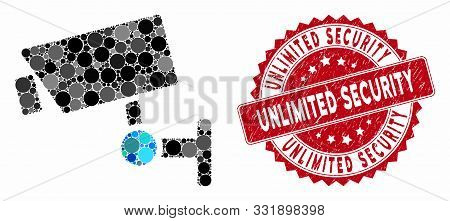 Mosaic Cctv Camera And Grunge Stamp Watermark With Unlimited Security Caption. Mosaic Vector Is Crea