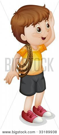 illustration of a boy with rope