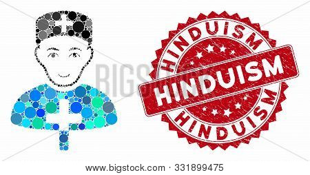 Mosaic Church Doctor And Corroded Stamp Seal With Hinduism Phrase. Mosaic Vector Is Designed With Ch