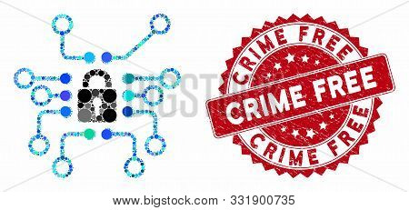 Mosaic Cryptography And Corroded Stamp Seal With Crime Free Text. Mosaic Vector Is Designed With Cry