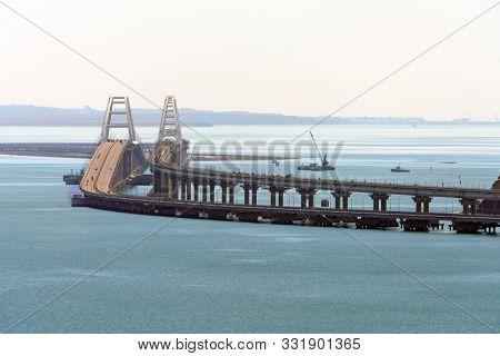 Crimean Bridge Across Kerch Strait Between Black And Azov Seas Connecting Kuban And Crimea. Close Te