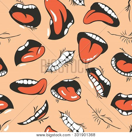 Vector Seamless Pattern With Human Mouths, Tongue And Teeth On A Beige Background. Emoticons Of Cart