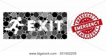 Mosaic Emergency Exit And Rubber Stamp Seal With Emergency Caption. Mosaic Vector Is Composed With E