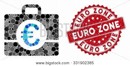Mosaic Euro Accounting And Grunge Stamp Seal With Euro Zone Caption. Mosaic Vector Is Designed With