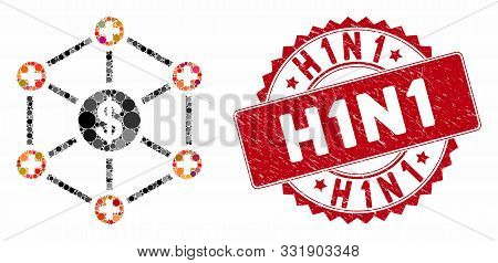 Mosaic Financial Medical Network And Corroded Stamp Seal With H1n1 Phrase. Mosaic Vector Is Composed