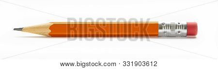 Yellow Orange Pencil With Eraser Isolated On A White Background
