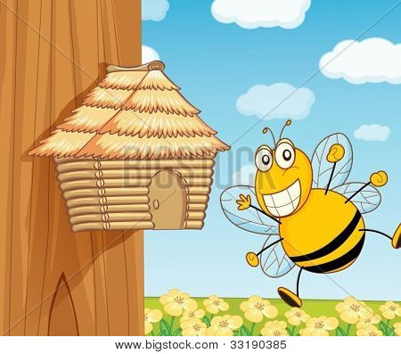 illustration of a funny beehive