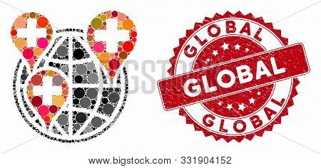 Mosaic Global Clinic Company And Corroded Stamp Seal With Global Text. Mosaic Vector Is Created With