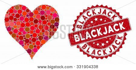 Mosaic Hearts Suit And Distressed Stamp Seal With Blackjack Text. Mosaic Vector Is Created From Hear