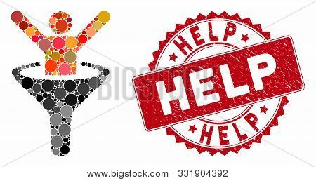 Mosaic Help And Distressed Stamp Seal With Help Phrase. Mosaic Vector Is Created With Help Icon And
