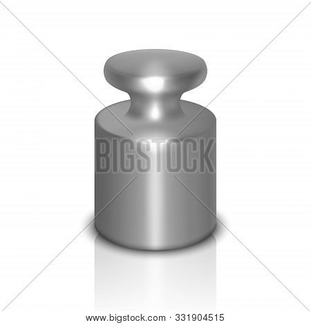 Vector 3d Realistic Metal Steel Gray Calibration Laboratory Weight Icon With Reflection Closeup Isol