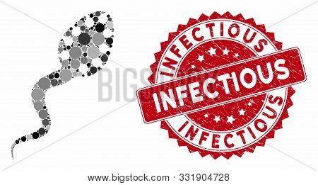 Mosaic Infectious And Distressed Stamp Seal With Infectious Caption. Mosaic Vector Is Created With I