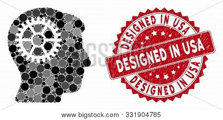 Mosaic Intellect Cog And Grunge Stamp Seal With Designed In Usa Caption. Mosaic Vector Is Created Fr