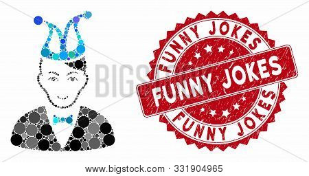 Collage Joker And Grunge Stamp Seal With Funny Jokes Text. Mosaic Vector Is Composed With Joker Icon