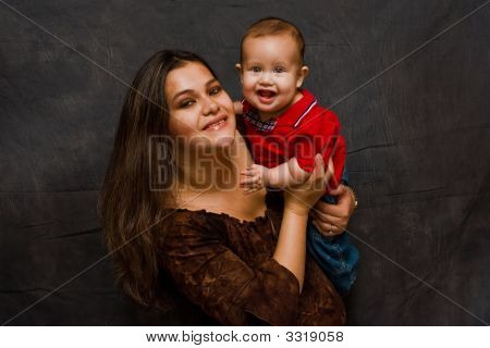 Mother With Happy Baby Boy