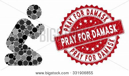 Mosaic Pray Pose And Corroded Stamp Seal With Pray For Damask Phrase. Mosaic Vector Is Created With
