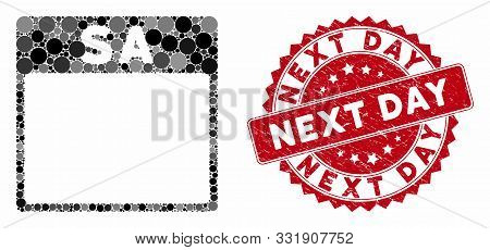 Mosaic Saturday Calendar Page And Corroded Stamp Seal With Next Day Phrase. Mosaic Vector Is Created