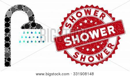 Mosaic Shower And Distressed Stamp Seal With Shower Phrase. Mosaic Vector Is Composed From Shower Ic
