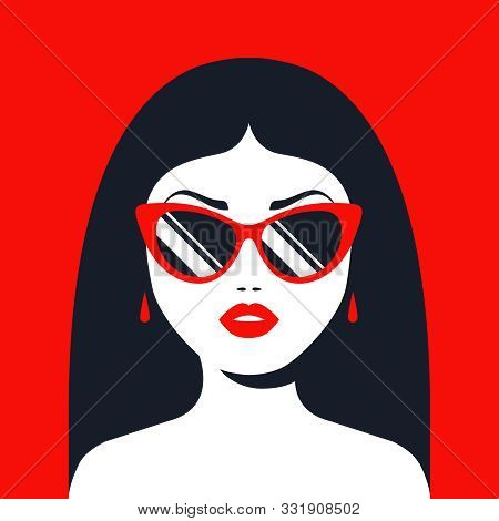 Brunette Girl In Sunglasses And Red Lipstick. Flat Character Vector Illustration.