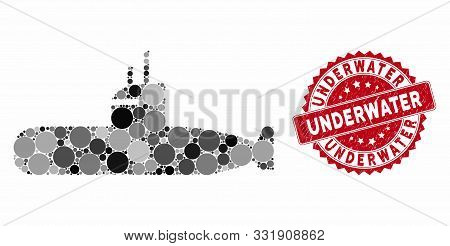Collage Submarine And Grunge Stamp Seal With Underwater Caption. Mosaic Vector Is Designed With Subm