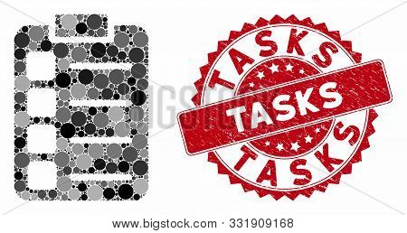 Mosaic Tasks And Rubber Stamp Watermark With Tasks Phrase. Mosaic Vector Is Composed With Tasks Icon