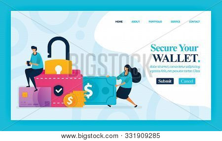 Landing Page Vector Design Of Secure Your Wallet. Easy To Edit And Customize. Modern Flat Design Con
