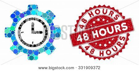 Mosaic Time Setup Gear And Distressed Stamp Watermark With 48 Hours Phrase. Mosaic Vector Is Formed