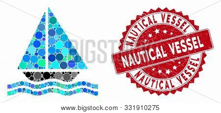 Mosaic Yacht And Rubber Stamp Seal With Nautical Vessel Caption. Mosaic Vector Is Designed With Yach