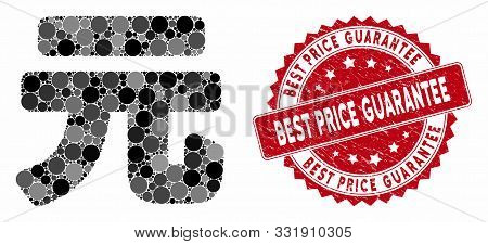 Mosaic Yuan Renminbi And Distressed Stamp Seal With Best Price Guarantee Phrase. Mosaic Vector Is De