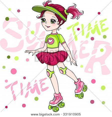 Vector Cute Red-head Baby Girl In Skirt Rollerblading