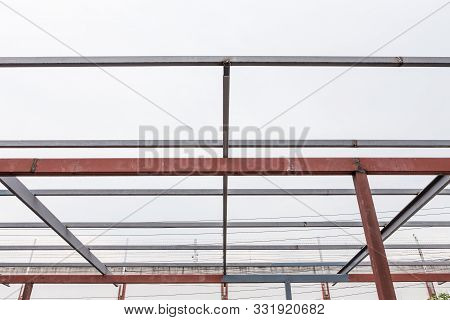 Pattern Of Steel Roof Frame On White Background