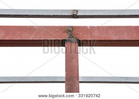 Close Up Welded Steel Roof Frame On White Background