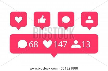 Vector Social Media Icons. Like, Comment And Subscribers Icon For Web And Ui Design.