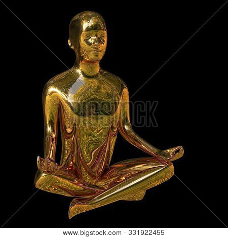 Yoga Golden Lotus Position Man Figure Polished Sparkling Stylized. Peaceful Nirvana Meditate Mind Ba