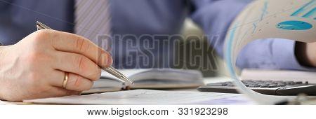 Person Calculate Company Finance Budget Balance. Man Accounting Financial Business Data Using Charts