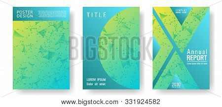 Tech Cover Page Layout. Global Network Connection Geometric Grid. Interlinked Nodes, Molecular Or  B