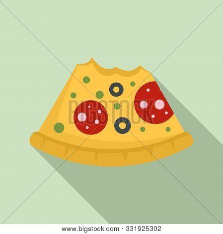 Bitten Pizza Slice Icon. Flat Illustration Of Bitten Pizza Slice Vector Icon For Web Design