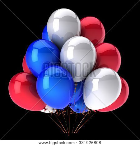 Red Blue White Party Balloons Bunch Glossy Colorful Baloons. Holiday Event Birthday Decoration Class