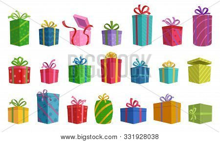 Gift Box Vector Cartoon Set Icon. Illustration Of Isolated Cartoon Icon Gift Box With Ribbon. Vector