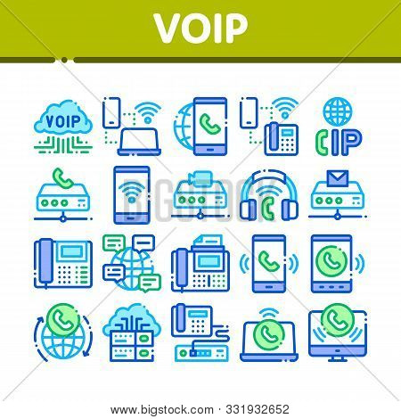 Voip Calling System Collection Icons Set Vector Thin Line. Server For Voice Ip And Cloud, Smartphone