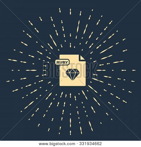 Beige Ruby File Document. Download Ruby Button Icon Isolated On Dark Blue Background. Ruby File Symb
