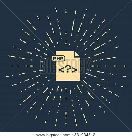 Beige Php File Document. Download Php Button Icon Isolated On Dark Blue Background. Php File Symbol.