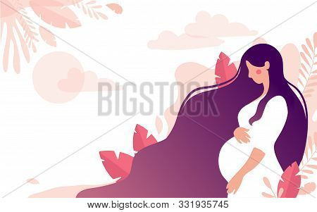Cute Character Of A Pregnant Woman On A Background Of A Gentle Landscape With Leaves And The Sun, A