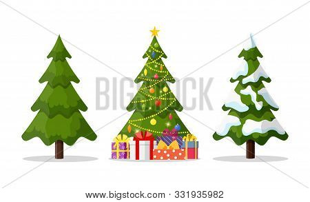 Christmas Tree In 3 Different Situations. Christmas Tree And Holiday Gifts. Fir-tree Decorated With