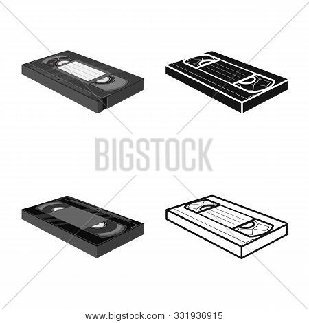 Vector Design Of Videotape And Tape Icon. Web Element Of Videotape And Cassette Stock Symbol For Web