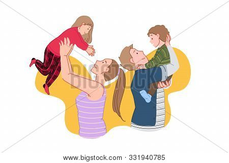 Happy Family, Joyful Meeting, Kids Time Concept. Smiling People, Glad Parents And Children In Pajama