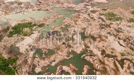 Aerial View Mekong River Dry From A Drone Fly Top View This Is The Effect Dam Construction