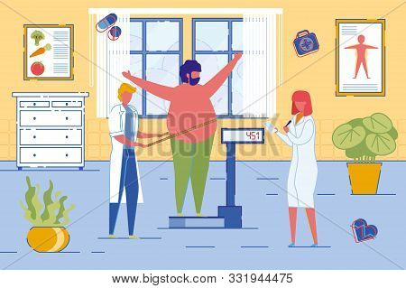 Nutritionists Or Dietician Counselor Doctors Weigh On Scales Overweight Patient Man. Weight Loss Wit