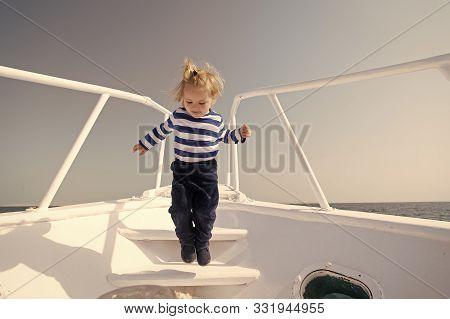 Boy Sailor Striped Shirt Sea Yacht Travel Around World. Little Sea Traveller. Memories Made Together